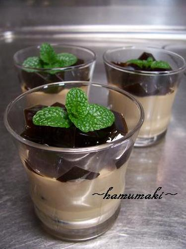 Japanese-style Black Sugar Pudding & Black Sugar Jelly