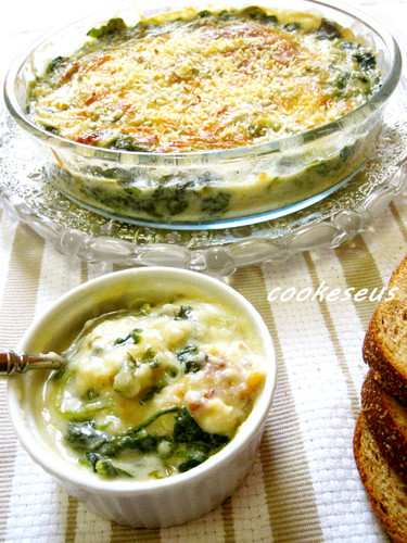 Soy Milk Gratin with Oyster and Spinach
