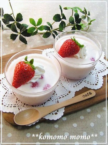 Easy Strawberry Milk Pudding in the Microwave