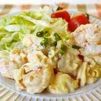 Easy Shrimp with Mayonnaise Sauce (and Fluffy Eggs)