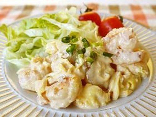 Easy Shrimp with Mayonnaise Sauce (and Fluffy Eggs)