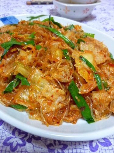 Pork, Kimchi and Cellophane Noodles Stir-fry