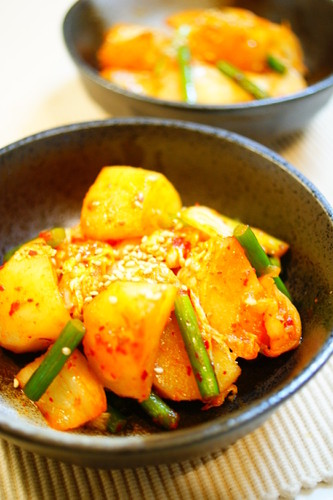 Fried Potato with Butter Kimchi