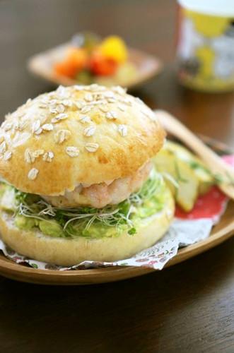 Tender Shrimp Patty and Avocado Burgers