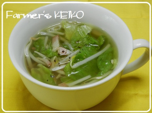 Bean Sprout and Lettuce Soup