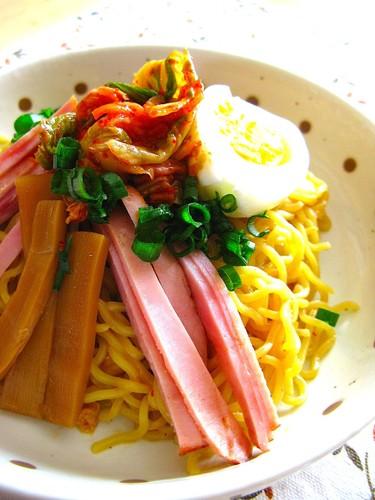 Spicy Oil Ramen (Soupless Ramen) with Kimchi