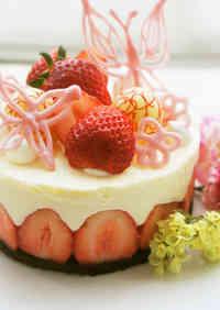 Fraisier Style No-bake Cheesecake