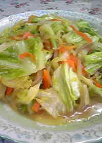 Cabbage and Bean Sprouts Stir Fried in Miso Butter