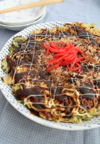 Hiroshima-Style Okonomiyaki with Crispy Noodles