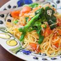 Fresh Tomato Pasta with Broccolini and Shirasu