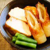 Simmered Uogashi-age and Chikuwa with Oden Hotpot Touch