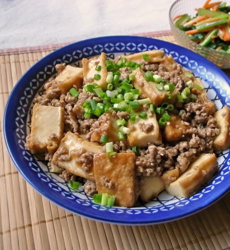 Stir-Fried Atsuage and Ground Pork