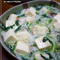 Taiwanese Tofu in Thick Sauce with Spinach and Shirasu