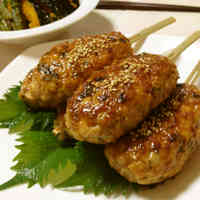 Izakaya Style At Home! Bamboo Shoot and Shiso Leaf Tsukune Patty Skewers