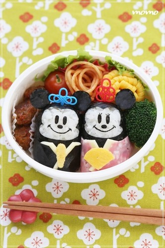 Doll Festival Bento with Mickey and Minnie Onigiri
