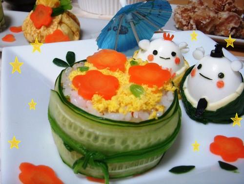 Chirashizushi Plate with Hina Matsuri Bears