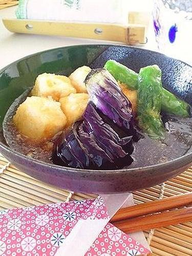 Agedashi Deep-Fried Tofu and Eggplant