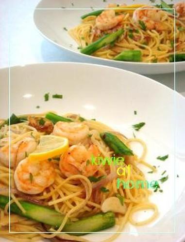 Shrimp and Asparagus Lemon Flavored Pasta