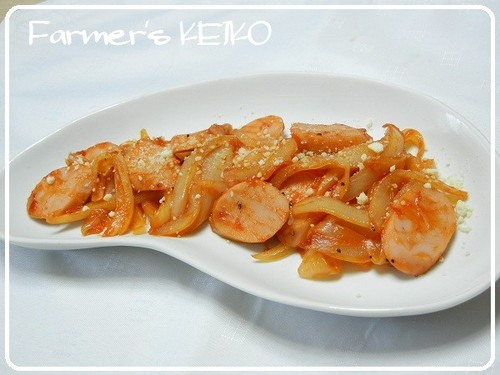 Stir Fried Onion and Fish Sausage With Ketchup