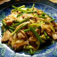 Stamina Building Garlic Shoots & Pork Belly Miso Stir-fry