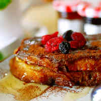 Cocoa French Toast with Cream Cheese and Jam