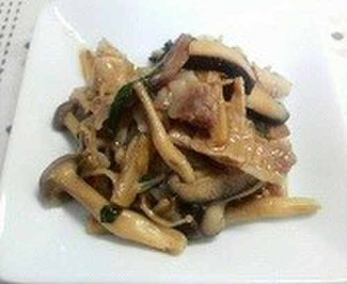 Stir-Fried Pork and Mushroom with Butter and Soy Sauce