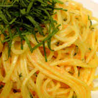 Mentaiko Spaghetti with Delicious Shiso Leaves