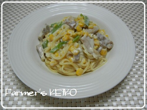 Chicken and Corn Cream Spaghetti