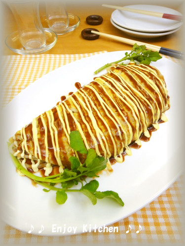 Melty Cheese, Pork and Bean Sprout Tonbeiyaki-style Omelette