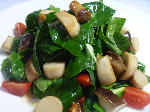 Diet & Macrobiotic Friendly King Oyster Mushroom & Komatsuma Green Salad