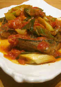 Italian Style with Tomatoes Mackerel Simmered In Tomato and Miso