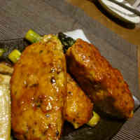 Tsukune-style Chicken Patties with Asparagus
