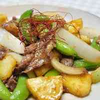 New Potato, Sugar Snap Pea and Beef Stir Fry