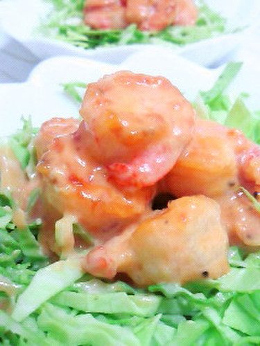 Shrimp with Mayonnaise Sauce in 1 Frying Pan