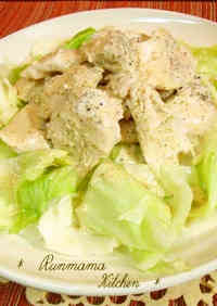Healthy Sake-steamed Chicken Tenders with Cabbage