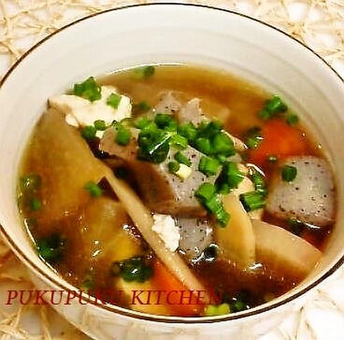 Kenchin Soup with Tofu, Chicken & Dried Shiitake Mushrooms