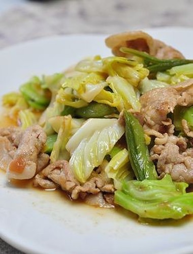 Cabbage and Pork Stir Fry with Ume Soy Sauce