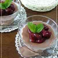 Chocolate Blancmange with Cherry Sauce
