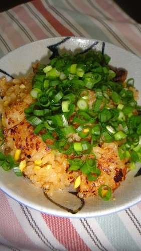 Bibimbap-style Crispy Rice with Leftover Bean Sprout Rice