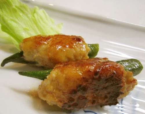 Chicken Tsukune Wrapped Around Okra