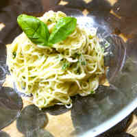 Chilled Spaghetti with Basil Sauce and Yogurt