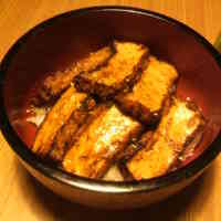 Fake Eel Rice Bowl with Atsuage Tofu