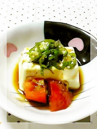 Chilled Tofu with Okra, Shiso and Ponzu Sauce