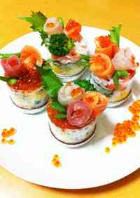 Easy Sushi Flower Cups