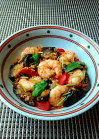 Kimchi Sweet Vinegar Stir Fry with Shrimp and Eggplant