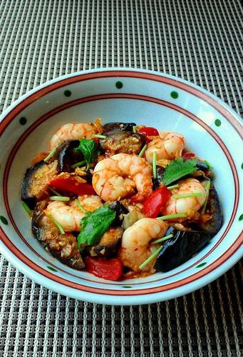 Kimchi Sweet Vinegar Stir Fry with Shrimp and Eggplant