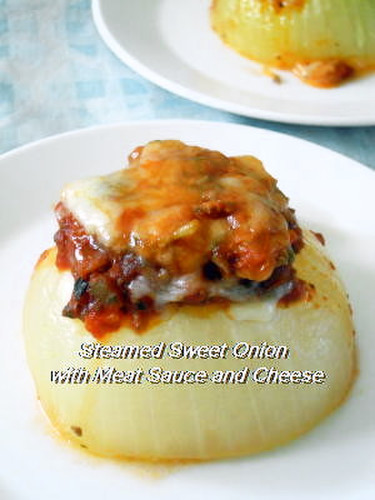 Microwave Steamed Sweet Onions with Meat and Cheese