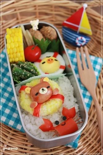 Charaben Rilakkuma made from Mini Sausages