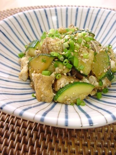 Stir-Fried and Simmered Zucchini & Atsuage