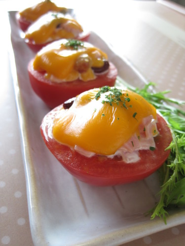 Baked Tomatoes with Beans & Cheese